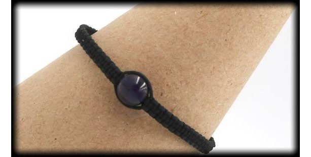 Black Macrame Amethyst Adjustable Bracelet