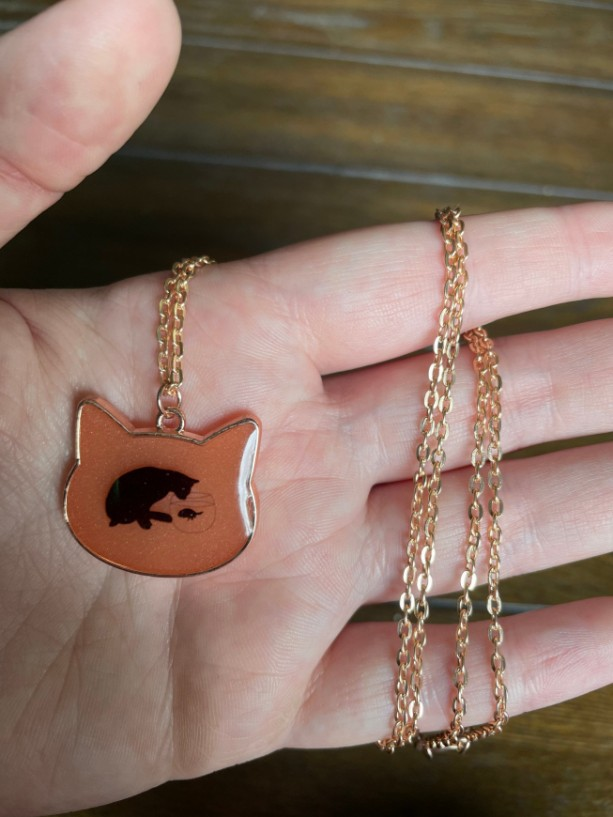Cat and Fishbowl Pendant Necklace