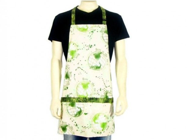 Kitchen Apron, Full Chef Style, Earth Day, Green and Off White