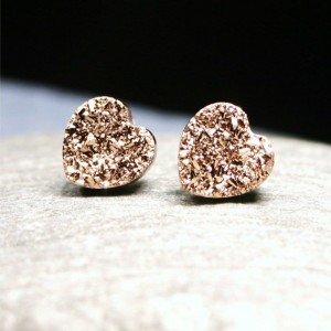 Rose Gold Druzy Heart Post Earrings