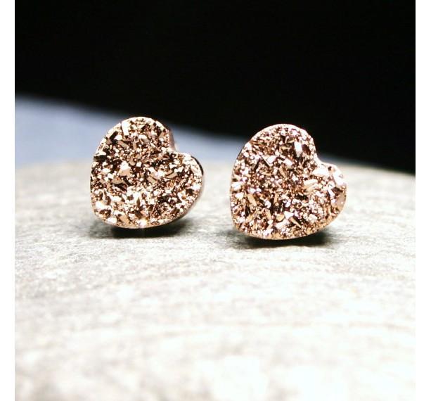 Rose Gold Druzy Heart Post Earrings