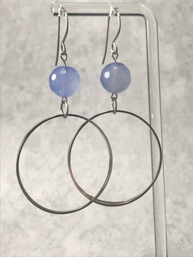The Esme | handmade hoop dangle earrings, bead earrings, hematite, cornflower jade, stainless steel ear wires, rhodium hoops, Gifts for Her