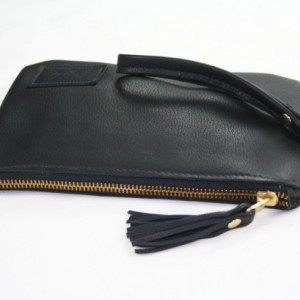Black Leather Wristlet with Tassel - Zipper Wristlet in Black