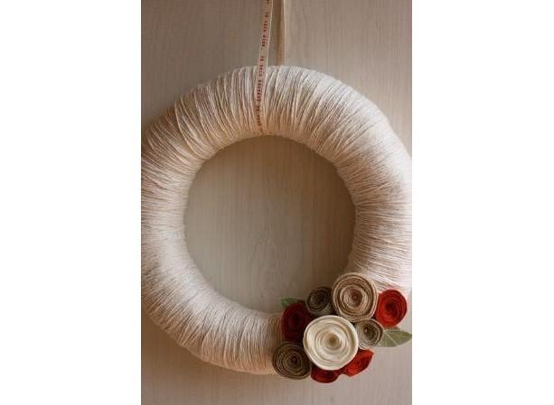 Autumn Harvest Cozy Yarn & Felt Wreath