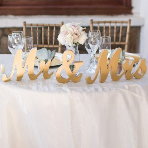 Metallic Mr and Mrs Wedding Signs for Wedding Table Centerpiece Decor
