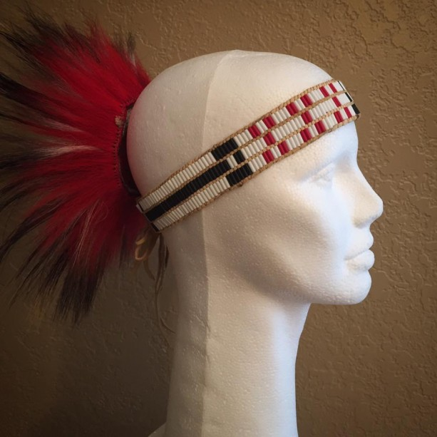 Glass wampum head band native american made