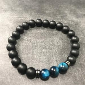 The Dax | handmade beaded stretch bracelet, matte onyx agate, blue green tiger's eye, gunmetal steel, men's / unisex, Gifts for Him