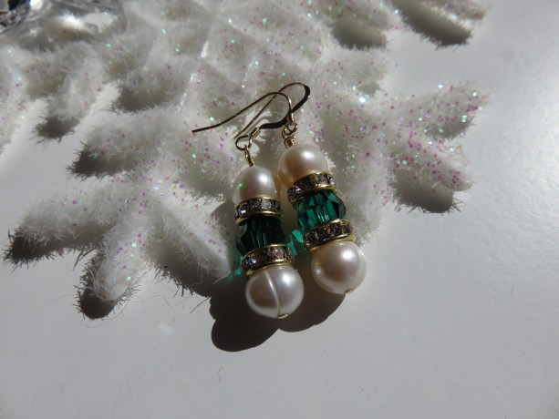 Big Pearls & Emerald Green earrings
