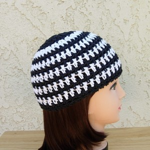 White and Off Black Summer Beanie, Cotton Striped Skull Cap, Women's Men's Crochet Knit Hat, Lightweight Chemo Cap, Ready to Ship in 3 Days