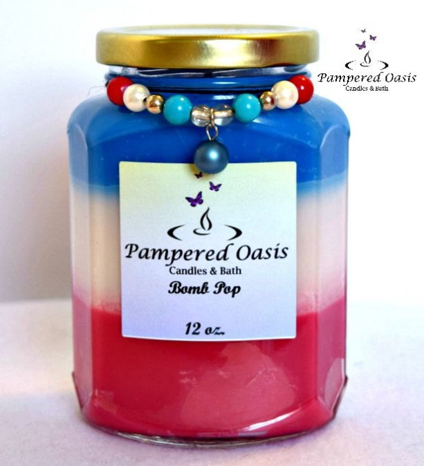 Bomb Pop Soy Candle - Patriotic Soy Candle - Clean Burn Candle - Eco Friendly Candle - USA Soy Candle - Fruit Scented Soy Candle