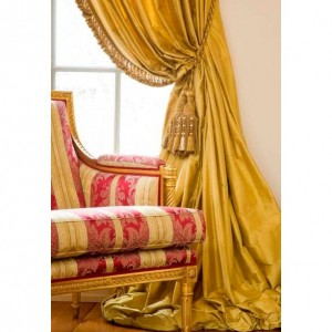 Brass Yellow Dupioni Silk Draping