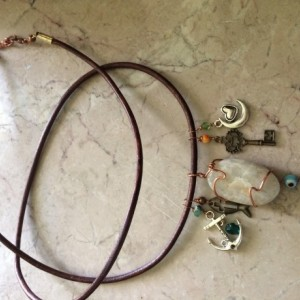 Natural brown leather Long Necklace with grey Agate pendant and charms beads, #N00146