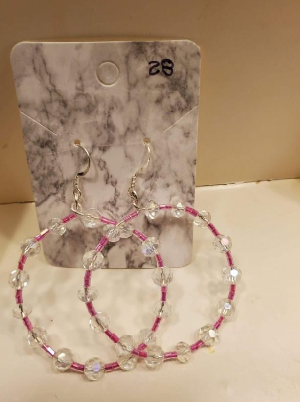 Pink and clear bead hoop earrings