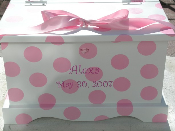 Pink Polka Dots Baby Girls Keepsake Chest Memory Box personalized baby gift