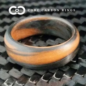 Carbon Fiber Orange and Black Marbled Glow Ring