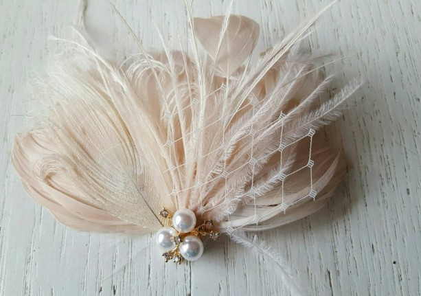 Bridal Fascinator, Wedding Fascinator, French Netting, Bridal Comb, Wedding Hair Clip, Wedding Headpiece, Wedding Comb, Feather Comb