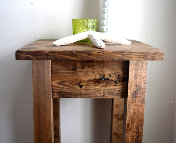 the tee - dark walnut stained pine side table / nightstand / pot