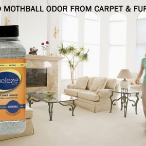 SMELLEZE Natural Moth Ball Odor Remover Deodorizer: 50 lb. Granules Rids Mothball Vapors