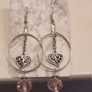 Hoop earrings with pink gem and heart charm