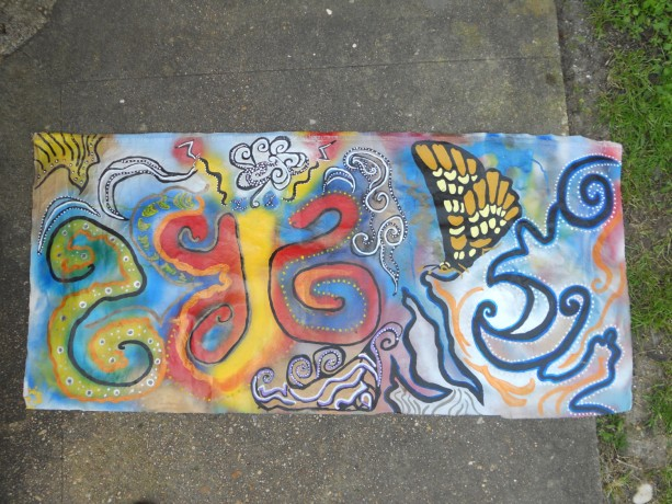 Super Awesome Butterfly Graffiti Canvas Wall Hanging