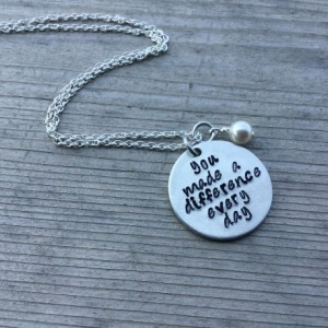 "Inspiration Necklace- ""you made a difference every day"" with an accent bead of your choice- Hand-Stamped Necklace"