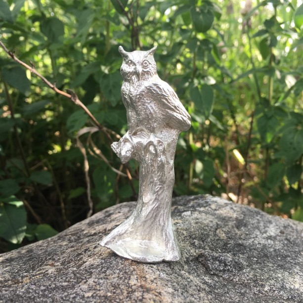 Great Horned Owl pewter figurine, hand cast