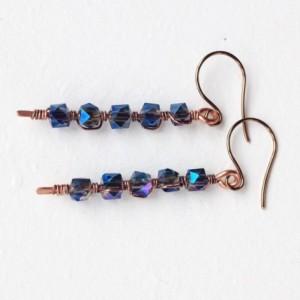 Long dangle earrings, metallic blue earrings, jewelry, fashion earrings, handmade jewelry, sparkly earrings, formal wear accessories,