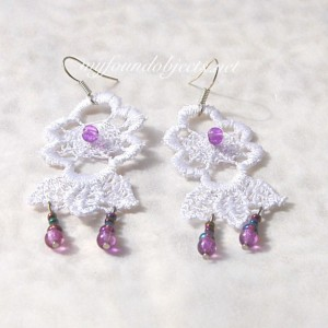 Lace Flower Boho Statement Earrings, White/Purple