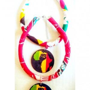 Map of Africa Afrocentric Ankara African Necklace, Afrocentric African Fabric Necklace, Ankara Necklace, Tribal Rope Necklace, African Print