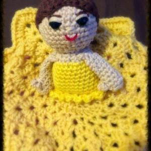 Security blanket dolls, golden dress doll with bun hair