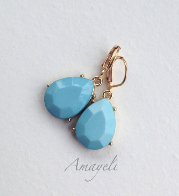 Light blue earrings, gold drop earrings, baby blue earrings, teardrop earrings, blue and gold earrings, womens earrings, fashion earrings