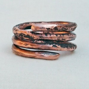 Copper Spiral Coil Ring Size 8 Hand Forged