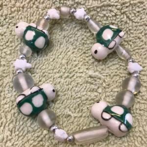 Turtle Crossing handmade beaded elastic bracelet