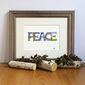 Peace 5x7 Fine Art Print, Inspirational Word Quote, Mindfulness Home Decor, Bohemian Spiritual Illustration, Zen Reminder, Gift Under 25