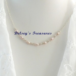 Rose Pink Freshwater Swarovski Pearl Sterling Silver Necklace