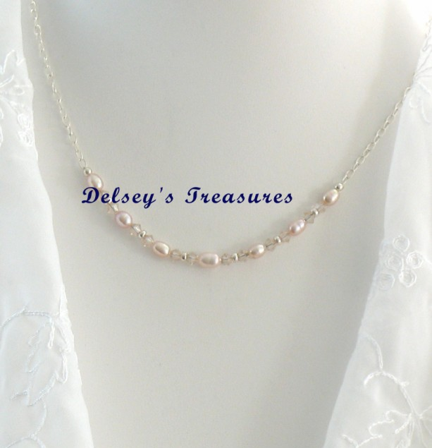 Rose Pink Freshwater Swarovski Pearl Sterling Silver Necklace