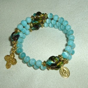 Rosary Bracelet of Catseye Blue Glass Beads and Gold Findings