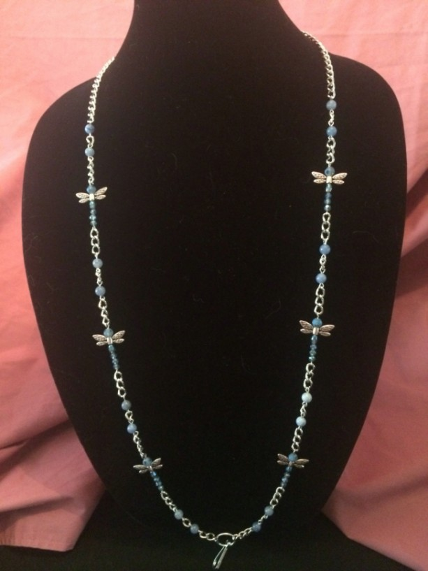 """20"""" Blue Dragonfly Glass Beaded Necklace Lanyard ID Badge Silver Chain"""