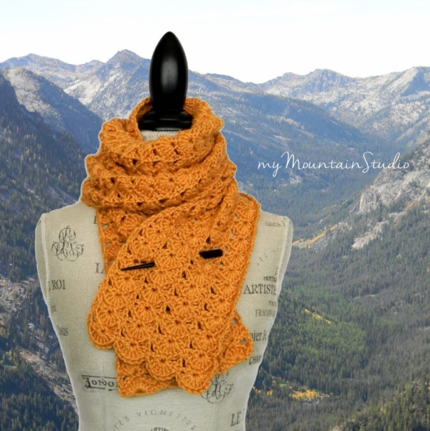 Golden Shells Handmade Ladies Scarf - Crocheted, Yellow, Fall, Winter