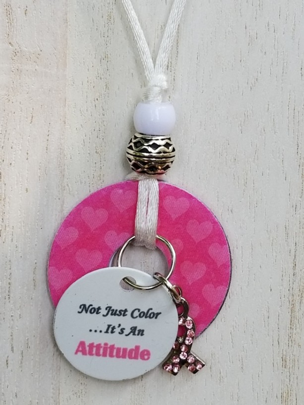 Breast Cancer Washer Pendant Necklace With Charm and Verse