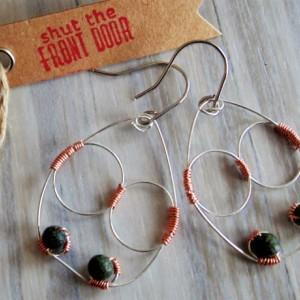 Drop Earrings, Wire Wrapped, Sterling Silver, Copper, Russian Serpentine