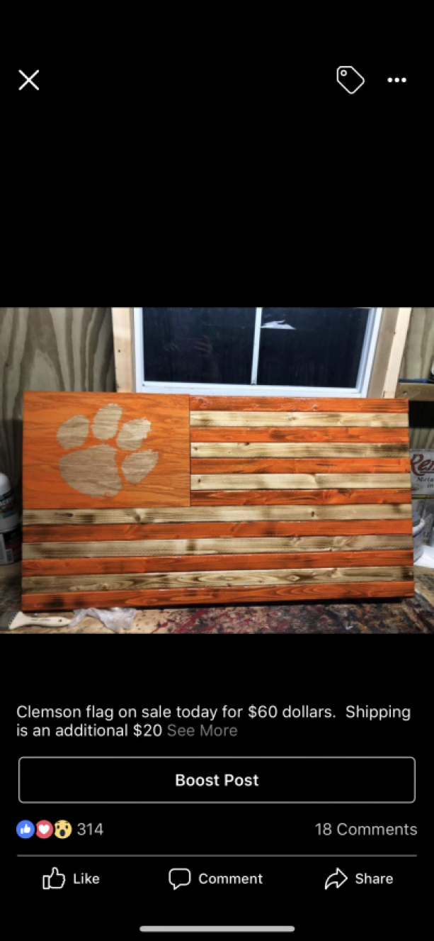 Clemson Wooden Flag