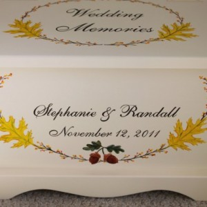 Autumn Fall Wedding Keepsake Chest Memory Box personalized wedding gift