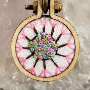 Dandelion  Embroidery Hoop Art Necklace