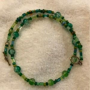 "Irish Luck Handmade Beaded Necklace 19"" long"