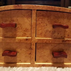 Jewelry box featuring maple burl,padauk, and pine