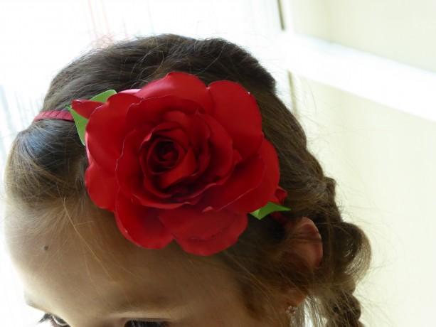 Satin Red rose handmade hairband/headband in Kanzashi technique