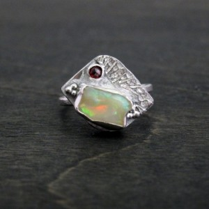 One Carat Opal Garnet Accent Recycled Sterling Silver Bird Ring Engagement Ring Size 7 Ready to Ship