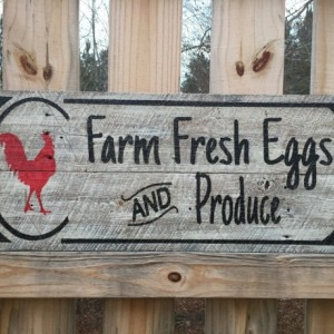 "Hand made and painted ""Farm Fresh Eggs and Produce"" sign"