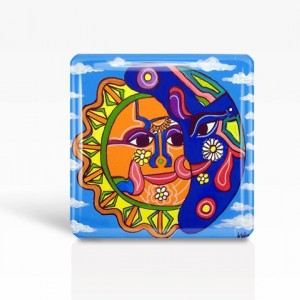 "Mexican Folk Art- SUN & MOON - Glass MAGNET By Artist A.V.Apostle- 2""x 2"""